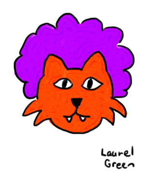 a drawing of a cat wearing a clown wig