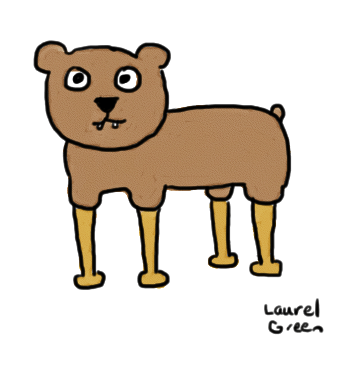 a drawing of a bear with peg leg