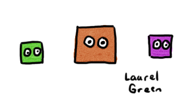 a drawing of three squares with eyes
