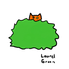 a drawing of an orange cat hiding behind a bush