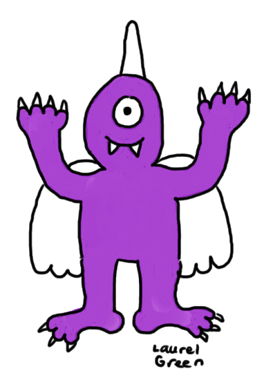 a drawing of a one-eyed, one-horned, flying, purple people eater