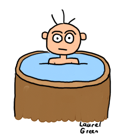 a drawing of a guy in a hot tub