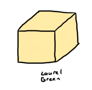 a drawing of a block of yak butter