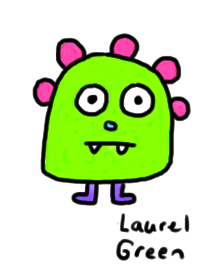 a drawing of a green critter