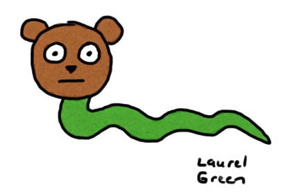 a drawing of a snake with a bear's head