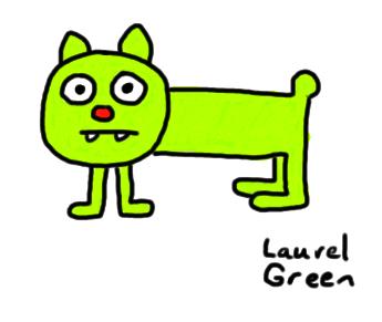 a drawing of a weird, green dog