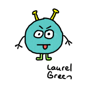 a drawing of a little guy with antennae