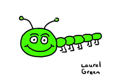 a drawing of a happy, green caterpillar
