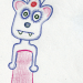 a drawing of a bizarre-looking bear