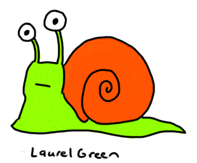 a drawing of a green and orange snail