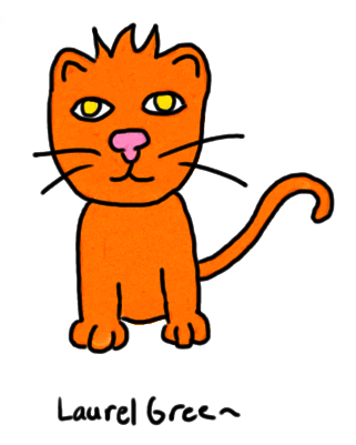 a drawing of an orange cat