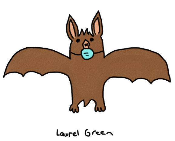 a drawing of a brown bat wearing a surgical mask
