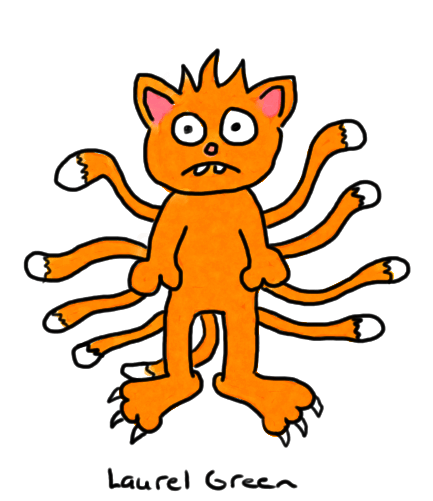 a drawing of a cat with nine tails