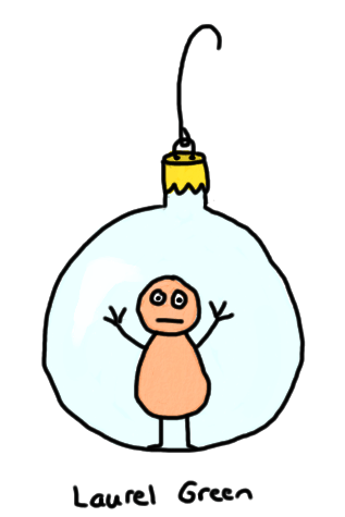 a drawing of a little person imprisoned inside a christmas ornament