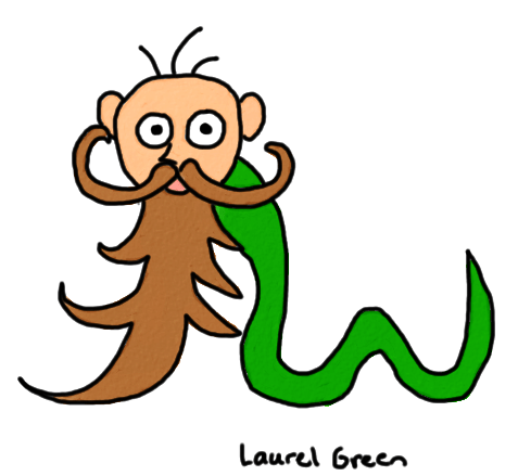 a drawing of a man and snake hybrid with a beard