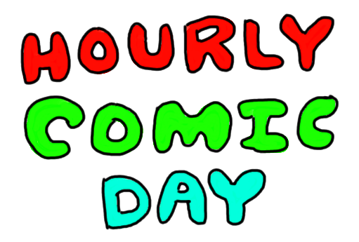 """HOURLY COMIC DAY"" in colourful letters"