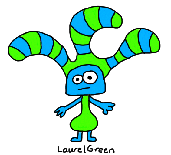a drawing of a creature with stripy things growing out of its head