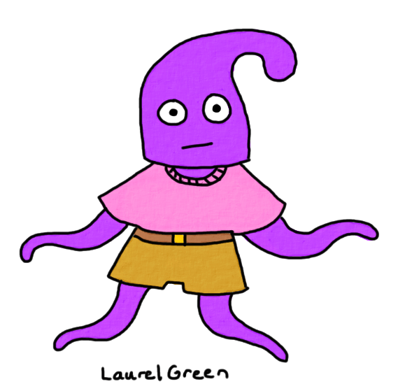 a drawing of a starfish wearing dorky clothing