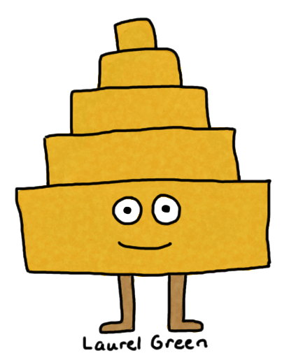 a drawing of an anthropomorphized pyramid