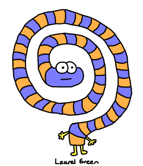 a drawing of a striped creature that is all swirled up