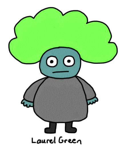 a drawing of a fat zombie wearing a green afro wig
