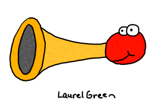 a drawing of a bulb horn with eyeballs