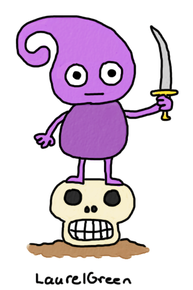 a drawing of a purple creature standing on a skull and holding a sword