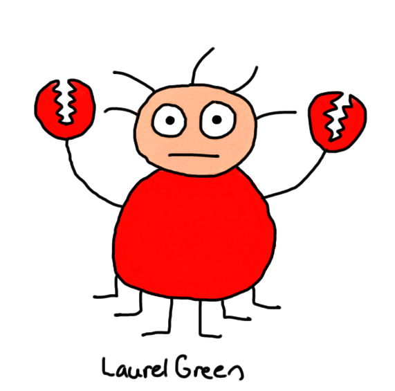 a drawing of a crab/dude hybrid