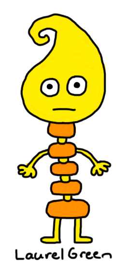 a drawing of a yellow creature with a segmented creature