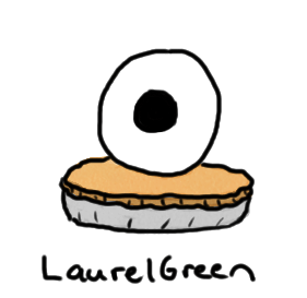 a drawing of a pie with a large eyeball on it