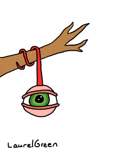 a drawing of an eyeball hanging from a tree branch