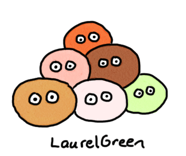 a drawing of a pile of balls with eyes