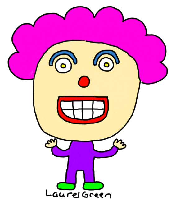 a drawing of a clown with a giant head