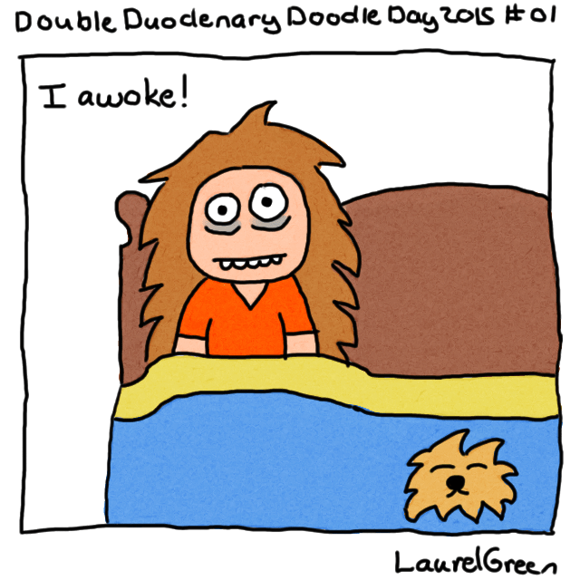 a drawing of laurel green waking up with her dog on the bed