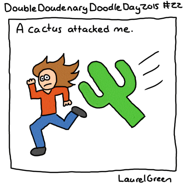 a drawing of a cactus trying to jump on Laurel Green