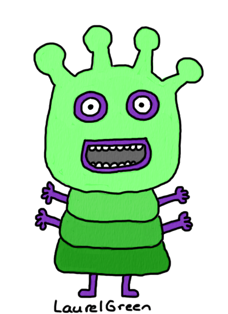 a drawing of a green creature with four purple arms
