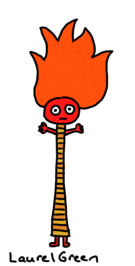 a drawing of a very tall lady with flaming orange hair