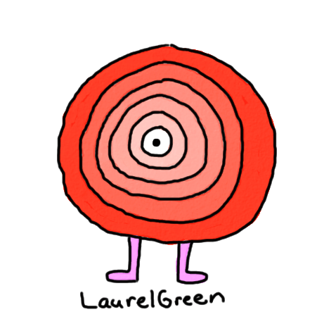 a drawing of layered, fleshy circle with an eye in the middle