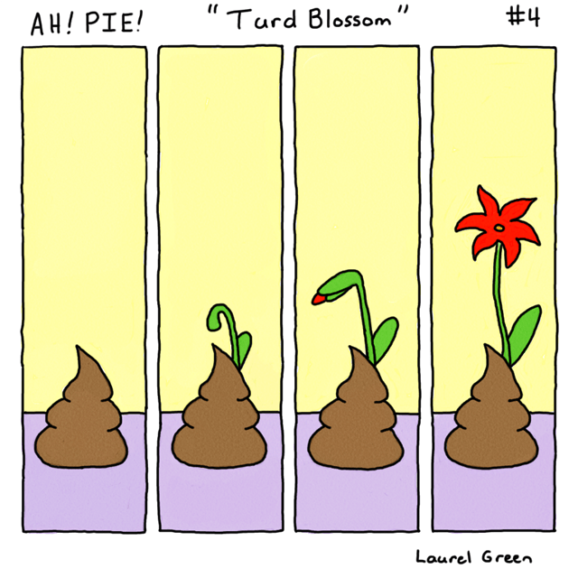 a comic of a flower growing out of some poop