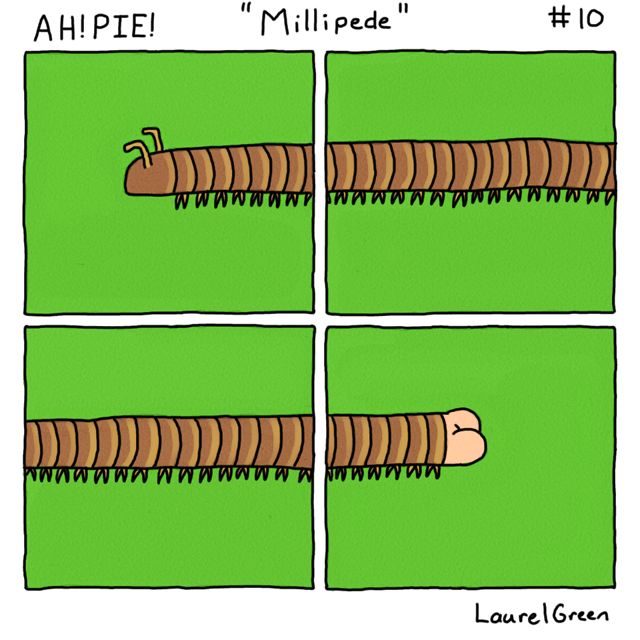 a comic about a millipede with a human butt