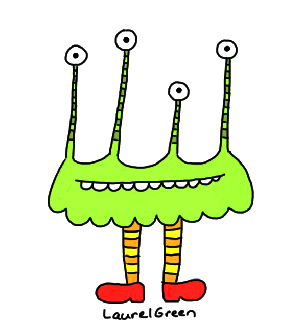 a drawing of a many-eyed creature wearing red shoes