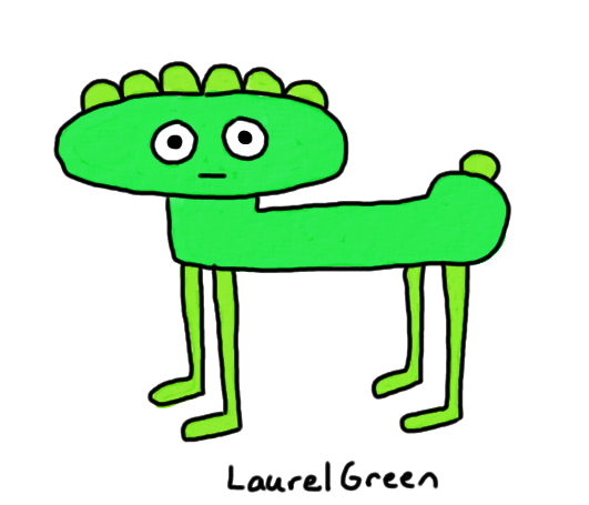 a drawing of a green quadrupedal critter