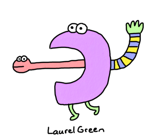 a drawing of a creature what has a face on its tongue
