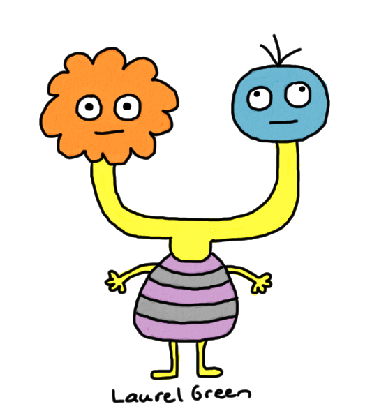 a drawing of a creature with two different heads