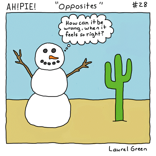 a comic about a snowman in the desert