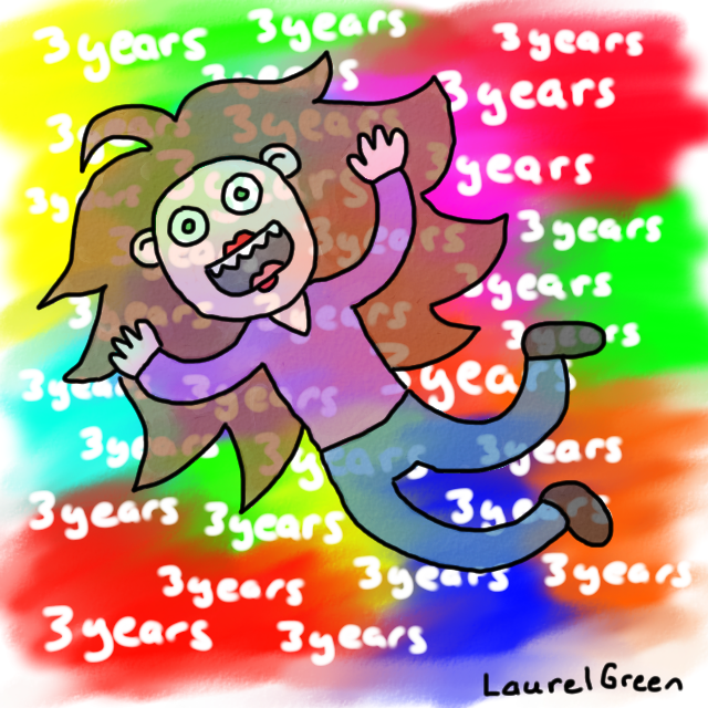 a drawing of laurel green going crazy