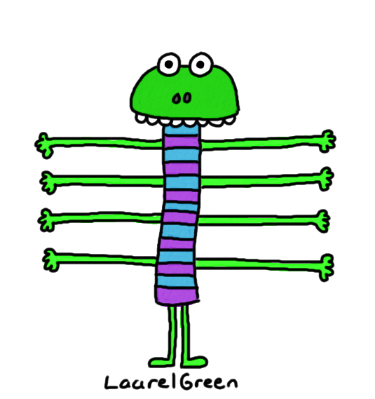 a drawing of a creature with eight arms