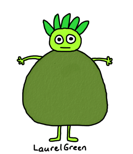 a drawing of a fat green thing