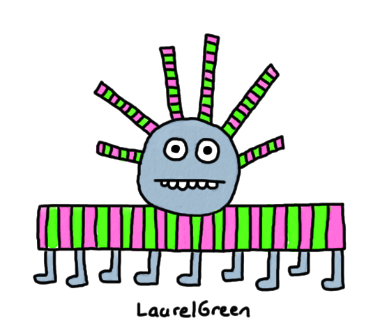 a drawing of a stripey creature with lots of legs