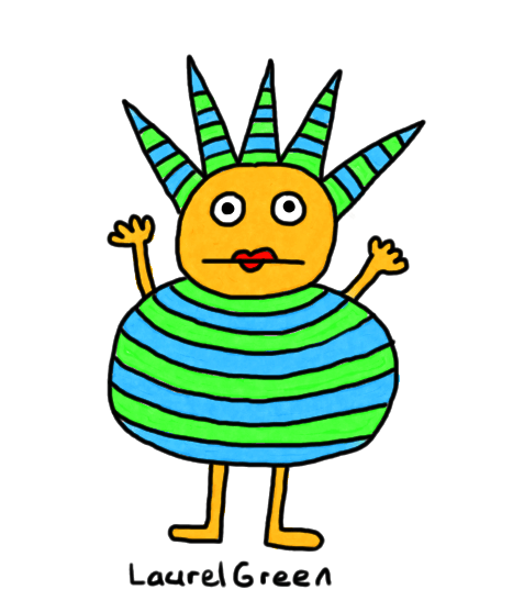 drawing of a stripy spiky thing